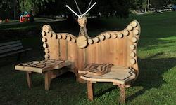 panchina artigianale in legno