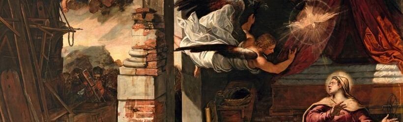 L'Angelo del Tintoretto, particolare dell'Annunciazione